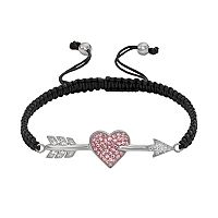 AMORE by SIMONE I. SMITH Platinum Over Silver Crystal Cupid's Arrow Slipknot Bracelet