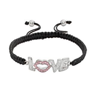 AMORE by SIMONE I. SMITH Platinum Over Silver Crystal Love Slipknot Bracelet