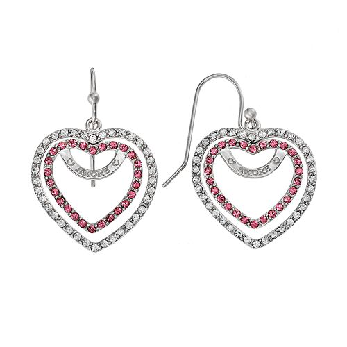 AMORE by SIMONE I. SMITH Platinum Over Silver Crystal Heart Drop Earrings