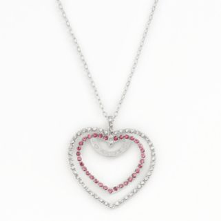 AMORE by SIMONE I. SMITH Platinum Over Silver Crystal Heart Pendant