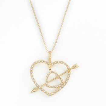AMORE by SIMONE I. SMITH 18k Gold Over Silver Crystal Cupid's Arrow Heart Pendant