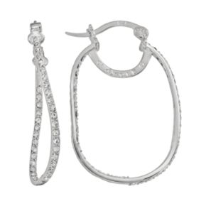 AMORE by SIMONE I. SMITH Platinum Over Silver Crystal Rectangular Inside-Out Hoop Earrings
