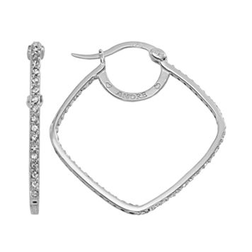 AMORE by SIMONE I. SMITH Platinum Over Silver Crystal Square Inside-Out Hoop Earrings