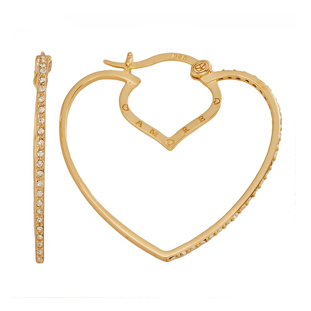 AMORE by SIMONE I. SMITH 18k Gold Over Silver Crystal Heart Hoop Earrings