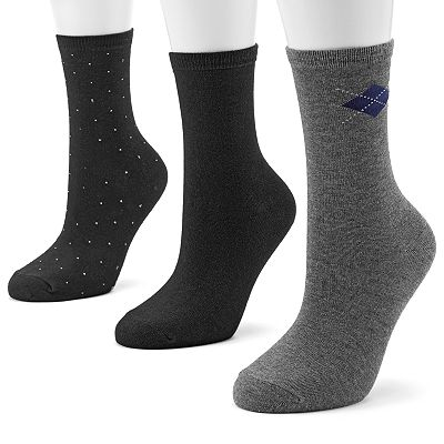 SONOMA life + style 3-pk. Pin-Dot and Argyle Crew Socks