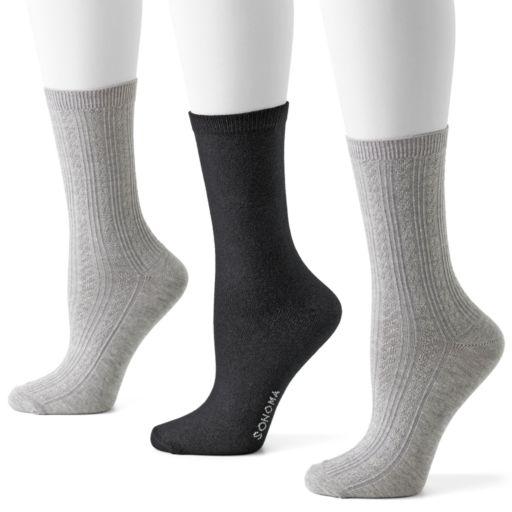 SONOMA Goods for Life™ 3-pk. Pin-Dot & Argyle Crew Socks