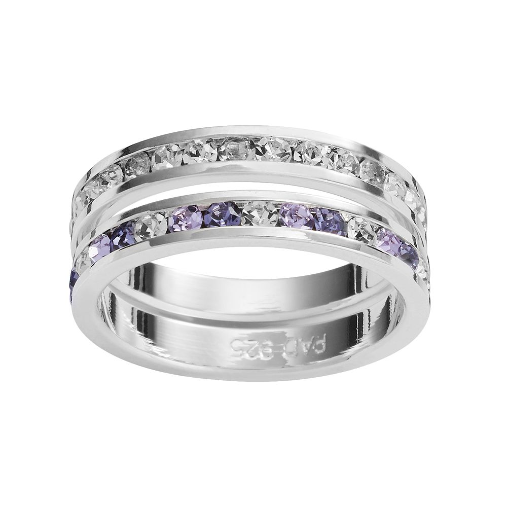 Traditions Silver-Plated Swarovski Crystal Eternity Ring Set