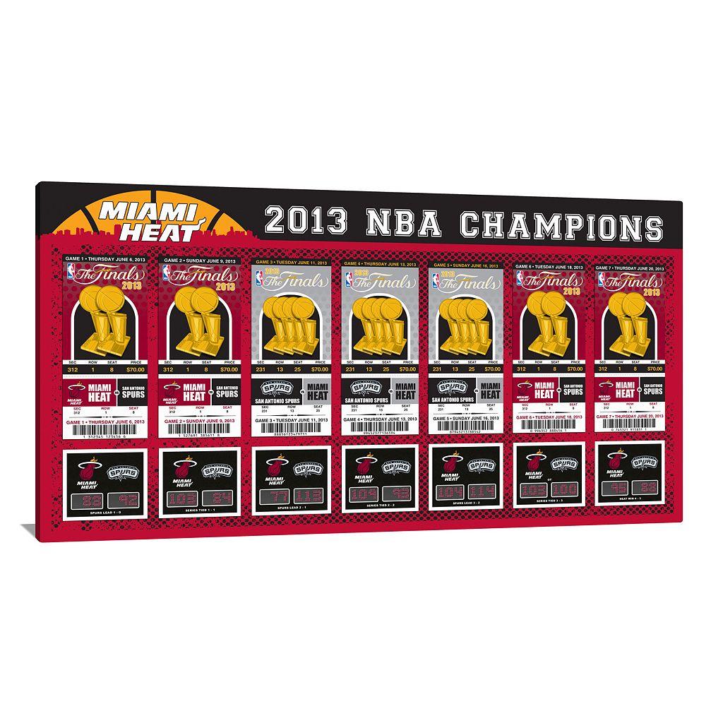 Miami Heat 2013 NBA Finals Tickets To History Canvas Print