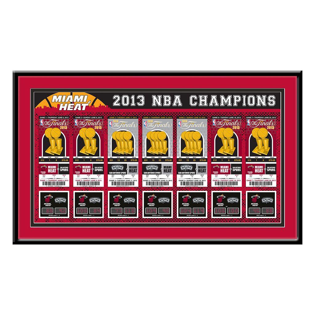Miami Heat 2013 NBA Finals Tickets To History Framed Print