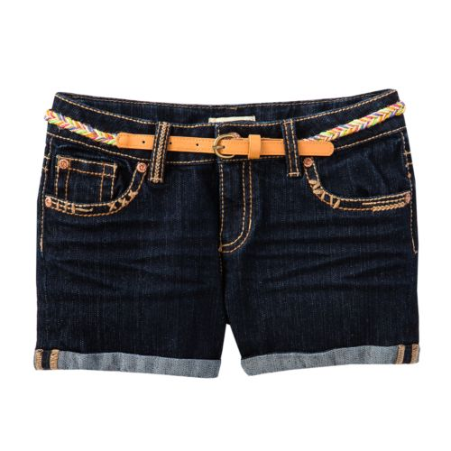 Mudd® Roll-Cuff Belted Denim Shorts - Girls 7-16