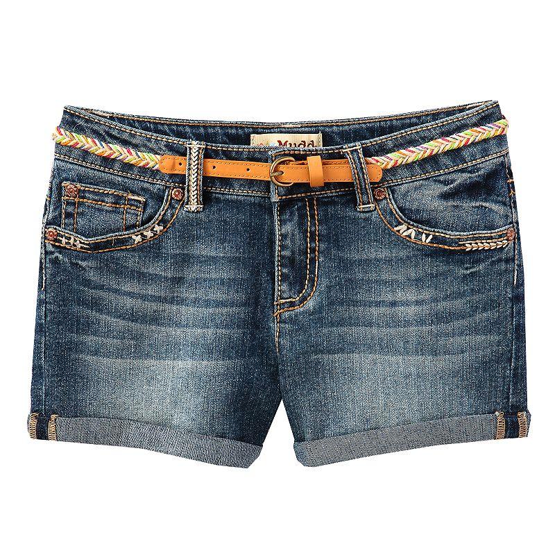 Mudd Roll-Cuff Belted Denim Shorts - Girls 7-16