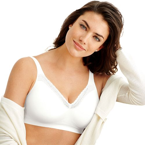 Bra: Comfort Revolution Lace Trim Smart Sizes Wire-Free Full ...