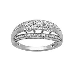 10k White Gold 1/4-ct. T.W. Diamond Cluster Multirow Ring