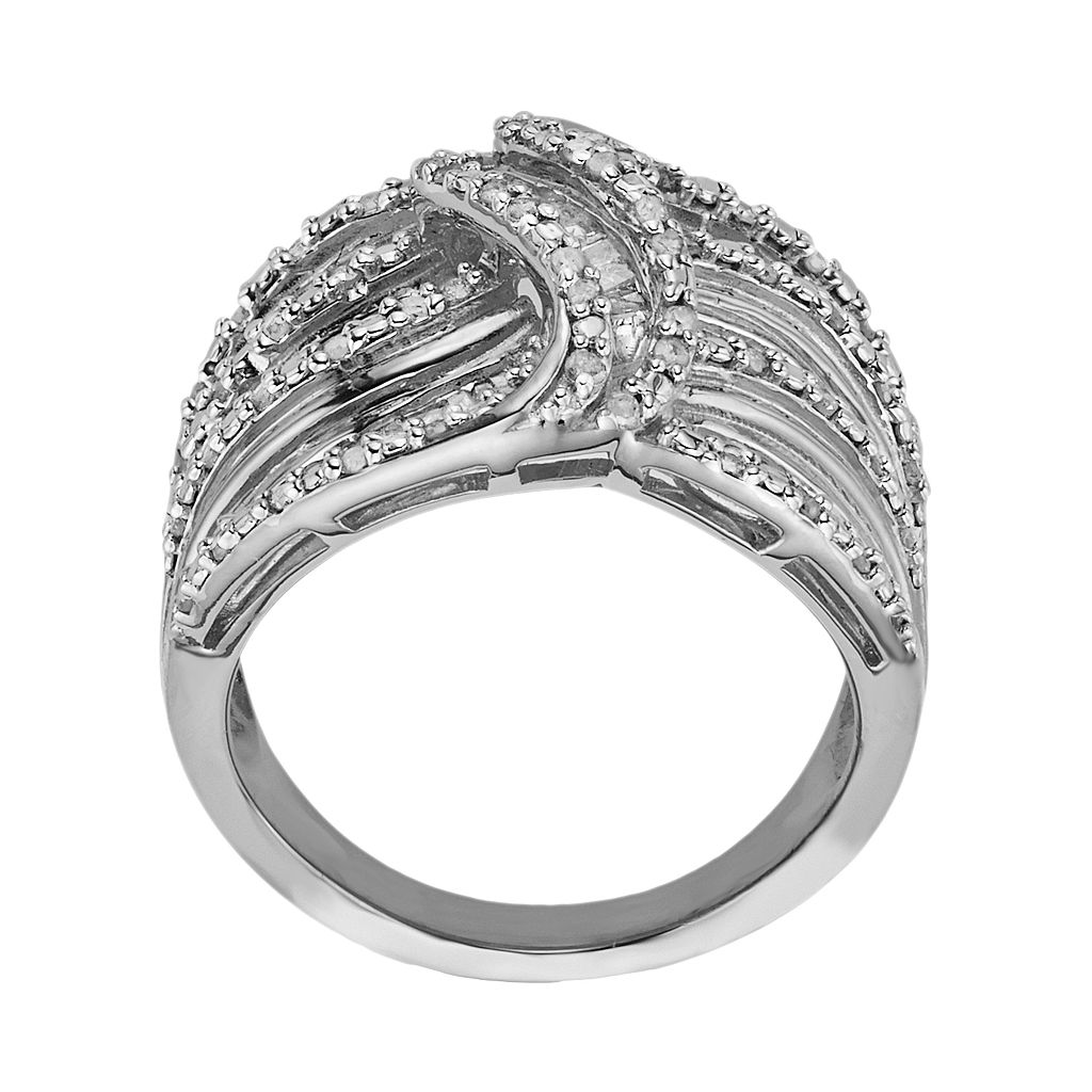 Sterling Silver 1-ct. T.W. Diamond Wave Ring