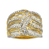 14k Gold Over Silver 1 ctT.W. Diamond Wave Ring