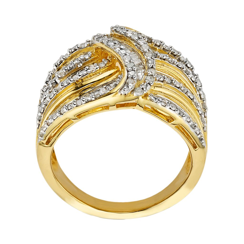 14k Gold Over Silver 1-ct. T.W. Diamond Wave Ring