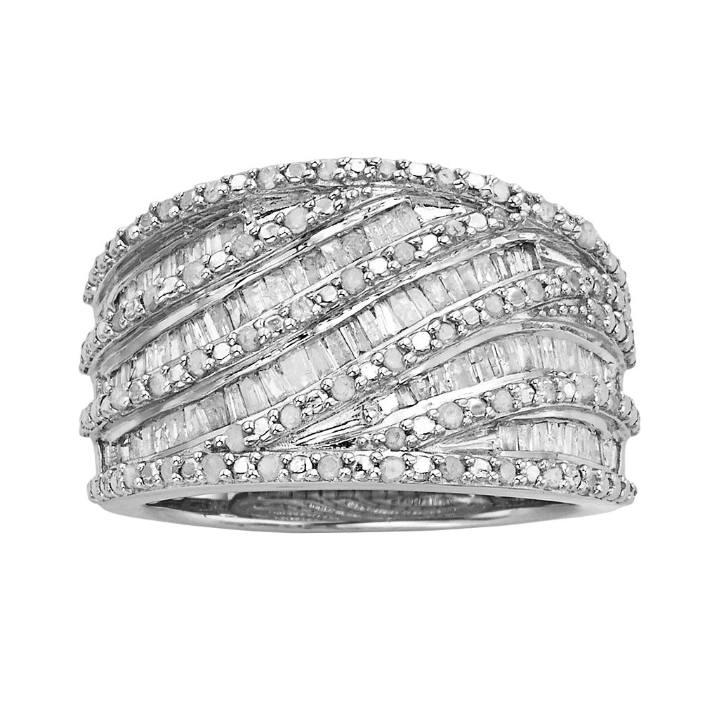 Sterling Silver 1-ct. T.W. Diamond Wave Multirow Ring
