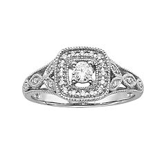 Simply Vera Vera Wang Diamond Halo Engagement Ring in 14k White Gold (1/4 ctT.W.)