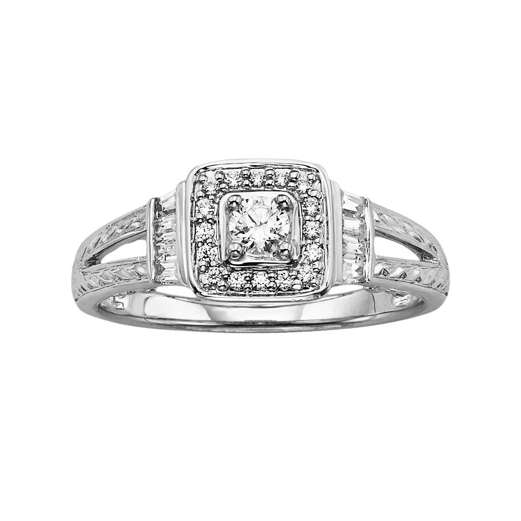 Simply Vera Vera Wang Diamond Halo Engagement Ring in 14k White Gold (1/3 ct. T.W.)