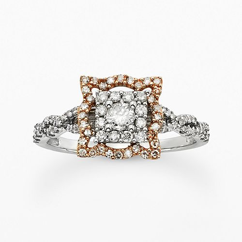 Simply Vera Vera Wang Round-Cut Diamond Crisscross Halo Engagement Ring in Two Tone 14k Gold (1/2 ct. T.W.)