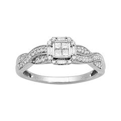 10k White Gold 1/4 ctT.W. Diamond Twist Octagonal Halo Ring