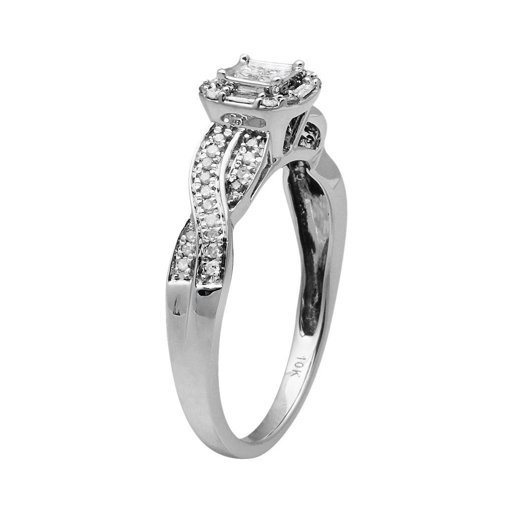 10k White Gold 1/4-ct. T.W. Diamond Twist Octagonal Halo Ring