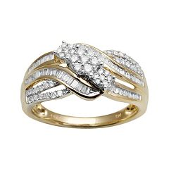 10k Gold 1/2 ctT.W. Diamond Cluster Multirow Ring