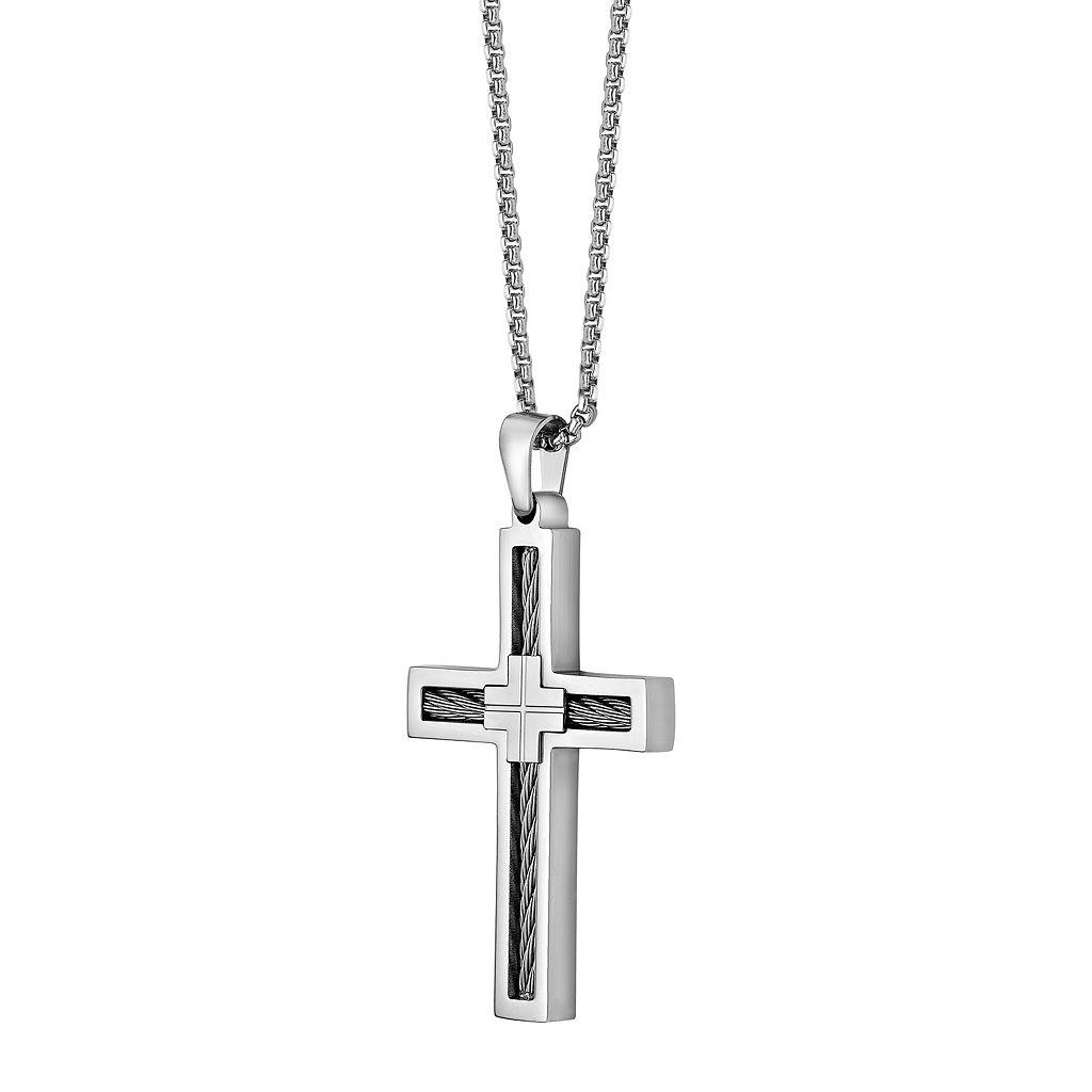 LYNX Stainless Steel Cable Cross Pendant - Men