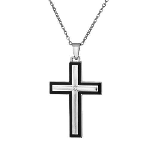 LYNX Stainless Steel Cubic Zirconia Cross Pendant - Men