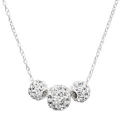 Sterling Silver Crystal Spinner Ball Necklace