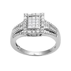 10k White Gold 1/2 ctT.W. Diamond Rectangular Halo Ring
