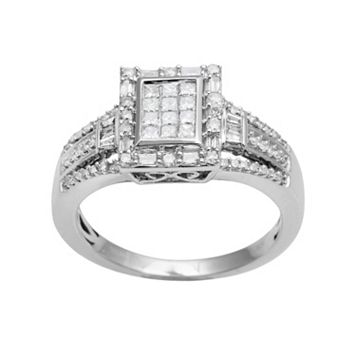 10k White Gold 1/2-ct. T.W. Diamond Rectangular Halo Ring