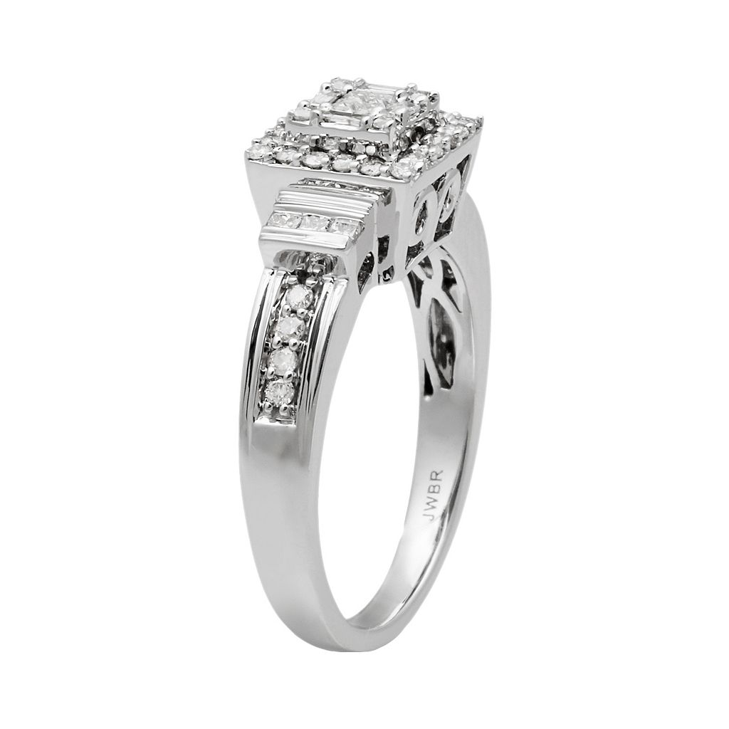 10k White Gold 1/2-ct. T.W. Diamond Tiered Square Halo Ring