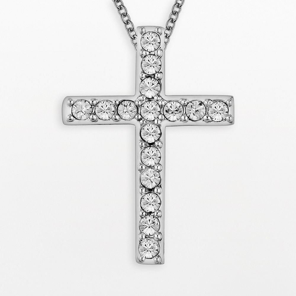 Diamonluxe crystal sterling silver cross pendant made with diamonluxe crystal sterling silver cross pendant made with swarovski crystals aloadofball Choice Image