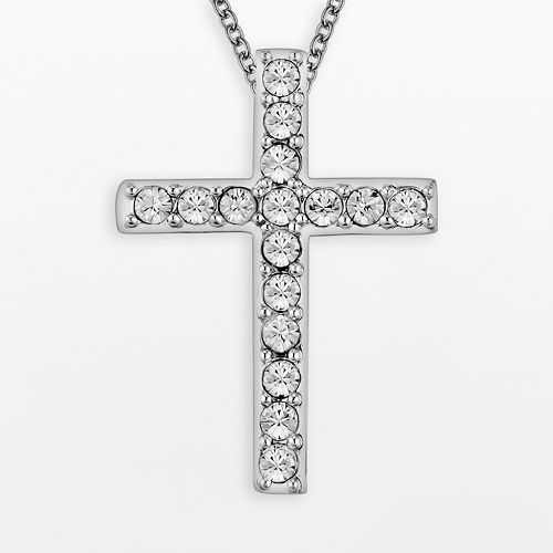 DiamonLuxe Crystal Sterling Silver Cross Pendant - Made with Swarovski Crystals
