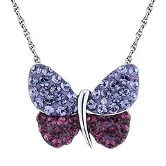 DiamonLuxe Crystal Sterling Silver Butterfly Necklace - Made with Swarovski Crystals