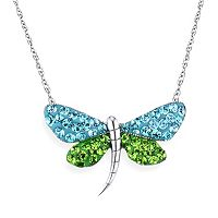 DiamonLuxe Crystal Sterling Silver Dragonfly Necklace - Made with Swarovski Crystals