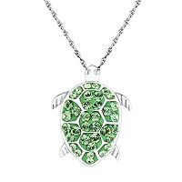 DiamonLuxe Crystal Sterling Silver Turtle Pendant - Made with Swarovski Crystals