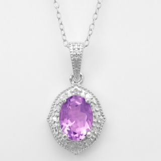 Sterling Silver Amethyst and Diamond Accent Marquise Pendant