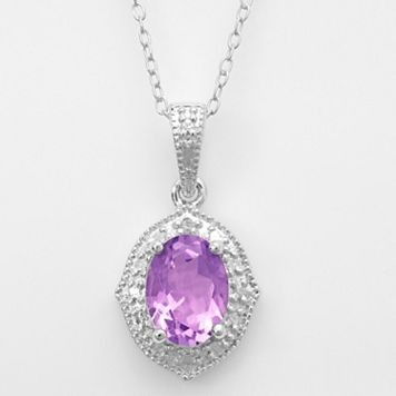 Sterling Silver Amethyst & Diamond Accent Marquise Pendant