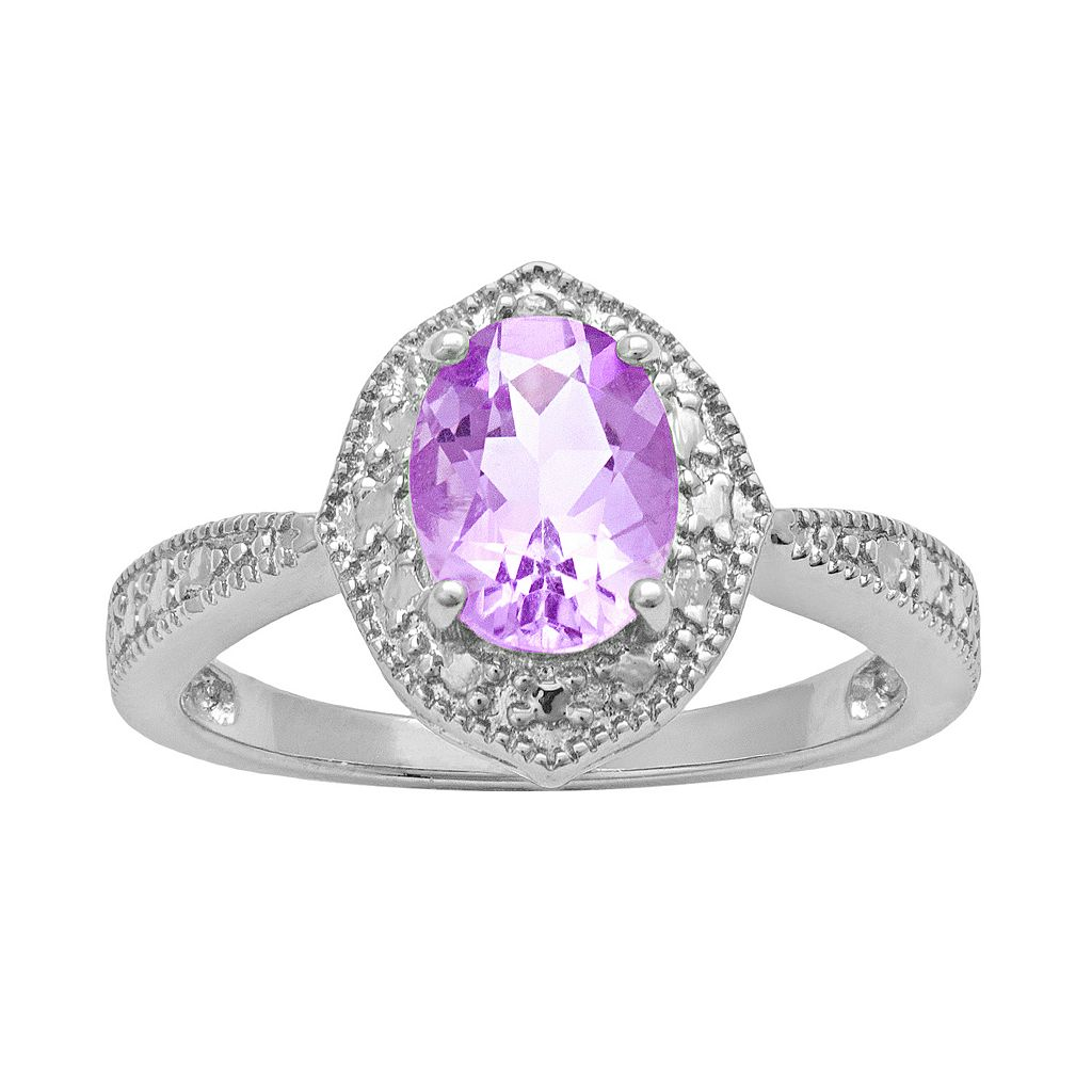 Sterling Silver Amethyst & Diamond Accent Marquise Ring