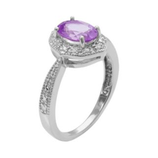 Sterling Silver Amethyst and Diamond Accent Marquise Ring