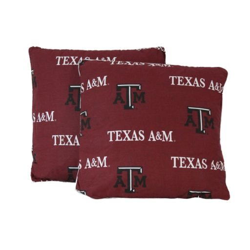 """College Covers Texas A&M Aggies 16"""" Decorative Pillow Set"""