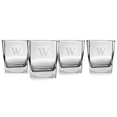 Cathy's Concepts 4 pc Monogram Rocks Glass Set