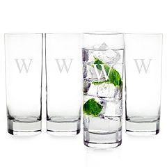Cathy's Concepts 4 pc Monogram Mojito Glass Set