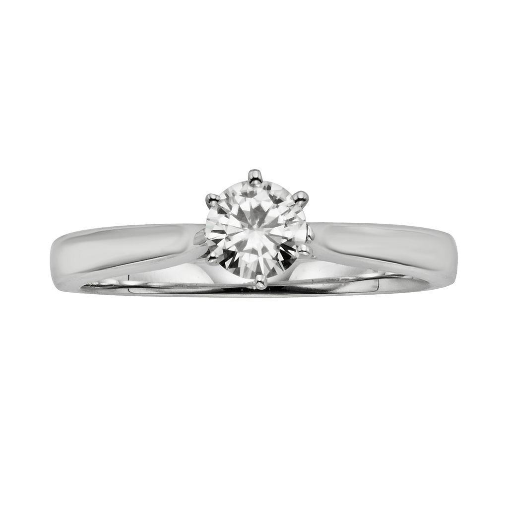 Forever Brilliant Round-Cut Lab-Created Moissanite Engagement Ring in 14k White Gold (1/2 ct. T.W.)
