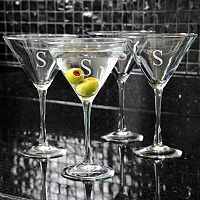 Cathy's Concepts 4 pc Monogram Martini Glass Set