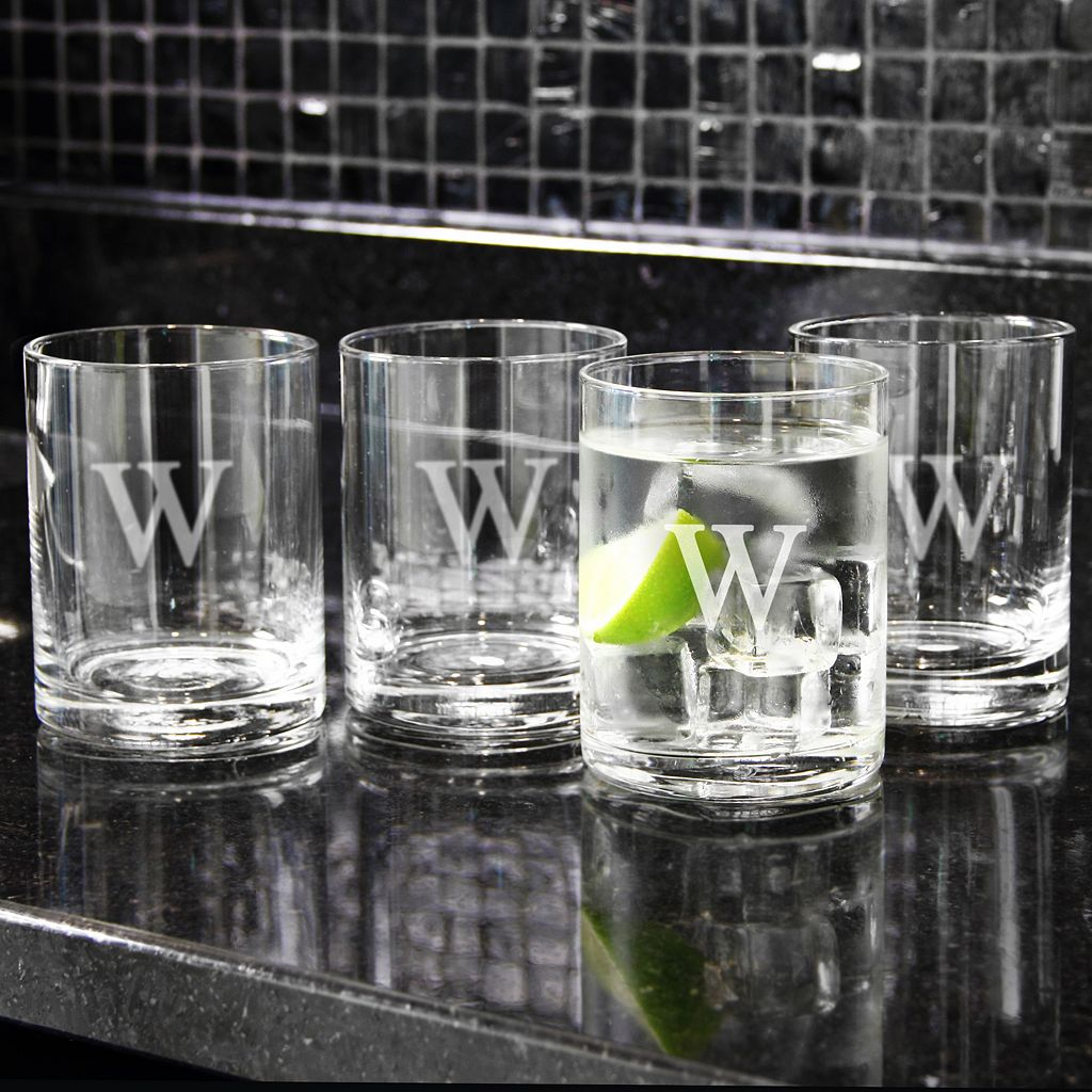 Cathy's Concepts 4-pc. 14-oz. Monogram Double Old-Fashioned Glass Set