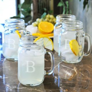 Cathy's Concepts 4-pc. Monogram Old-Fashioned Drinking Jar Set