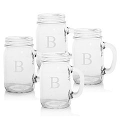 Cathy's Concepts 4 pc Monogram Old-Fashioned Drinking Jar Set